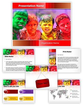 Indian Holi Celebration Editable PowerPoint Template
