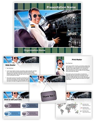 Pilot Airplane Cockpit Editable PowerPoint Template