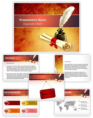 Ancient Scroll with Ink Editable PowerPoint Template