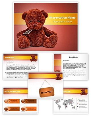 Cute Teddy Bear Editable PowerPoint Template