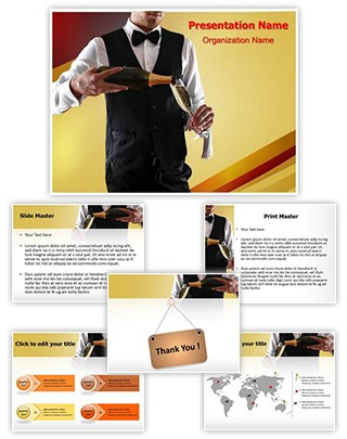 Champagne Serving Editable PowerPoint Template