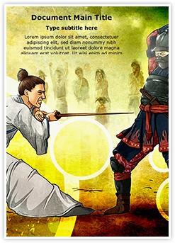 Samurai Fighting Editable Word Template