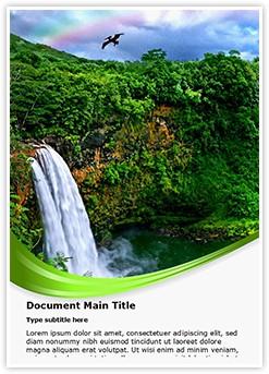 Waterfall and Rainbow Editable Word Template