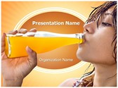 Drinking Fresh Juice Editable PowerPoint Template