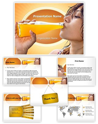Drinking Fresh Juice Editable PowerPoint Template