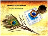 Peacock Quill Ink Editable PowerPoint Template