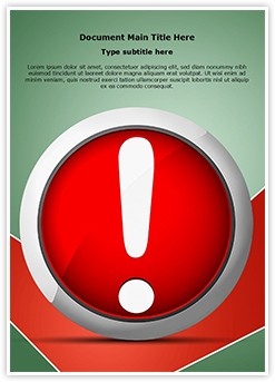 Error Message Exclamation Mark Editable Word Template