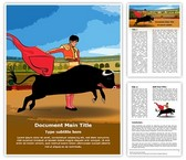 Spain Bullfighter Bullfighting Editable Word Template