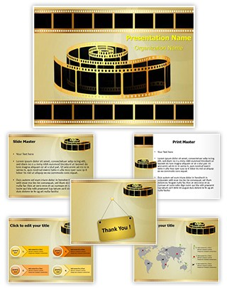 Golden Film Strip Editable PowerPoint Template