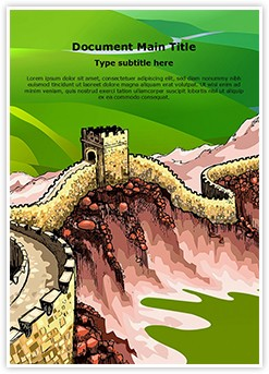 Ancient Wall Of China Editable Word Template