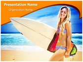Female Surfer Editable PowerPoint Template