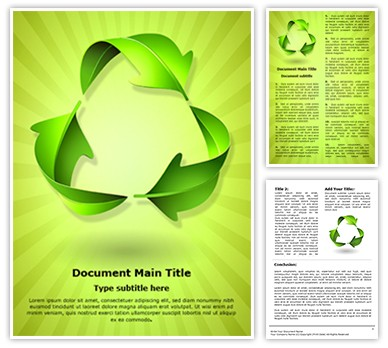 Green Recycle Concept Editable Word Document Template