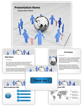 Globe and Family Editable 3D PPT Template