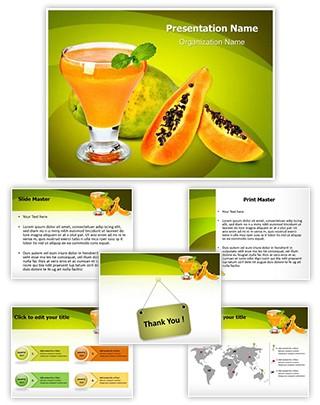 Papaya Juice Editable PowerPoint Template
