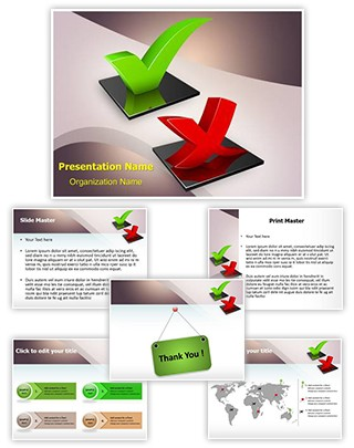 Questionnaire Check Mark Symbols Editable PowerPoint Template