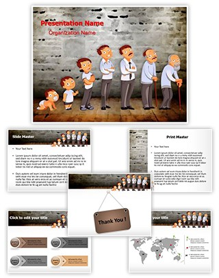 Generations Aging Process Editable PowerPoint Template