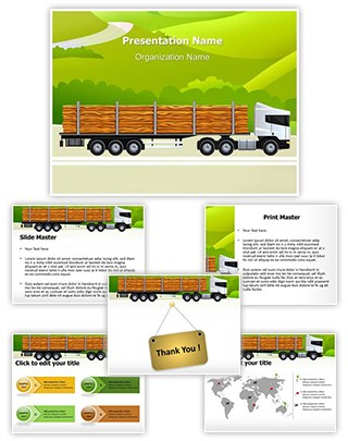 Commercial Logging Truck Editable PowerPoint Template