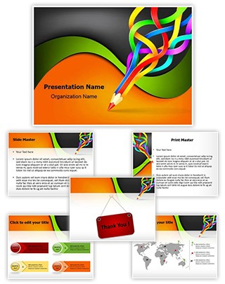 Colorful Pencil Art Editable PowerPoint Template