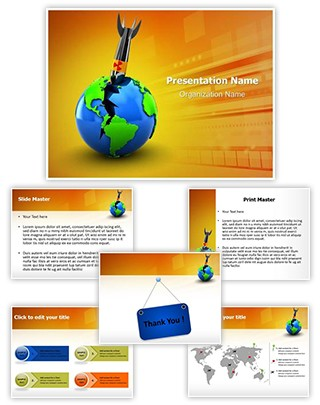 Globe Nuclear Threat Editable PowerPoint Template