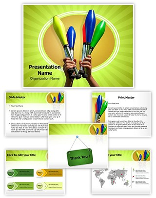 Juggling Clubs Editable PowerPoint Template