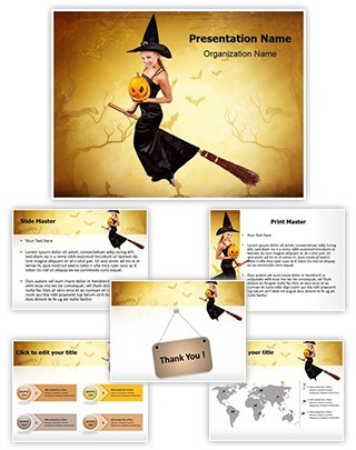 Flying Sorceress Editable PowerPoint Template