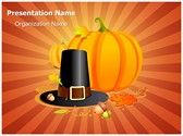 Autumn Thanksgiving Pilgrim Editable PowerPoint Template