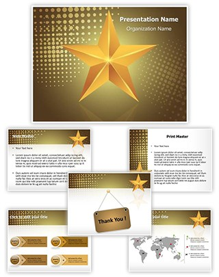 Celebration Gold Star Editable PowerPoint Template