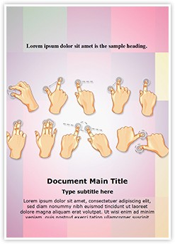 Hand Multitouch Gestures Editable Word Template