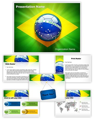 Brazil Football Flag Editable PowerPoint Template