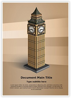 London Big Ben Tower Editable Word Template