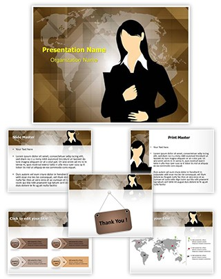Business Female Entrepreneur Editable PowerPoint Template