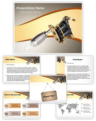 Tattoo Machine Editable PowerPoint Template