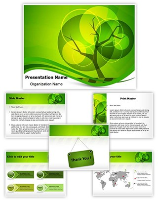 Green Tree Background Editable PowerPoint Template