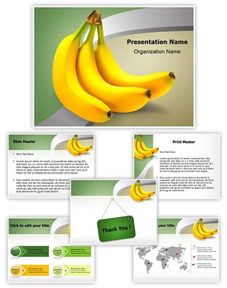 Food Ripe Bananas Editable PowerPoint Template