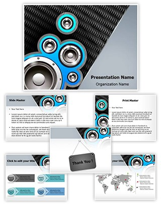 Music Speakers Background Editable PowerPoint Template