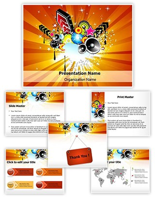 Retro Disco Party Abstract Editable PowerPoint Template