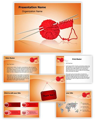 Woolen Clothes Knitting Spokes Editable PowerPoint Template