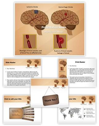Ischemic Hemorrhagic Brain Stroke Editable PowerPoint Template