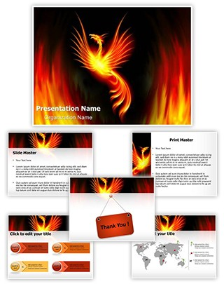 Rebirth Burning Phoenix Editable PowerPoint Template