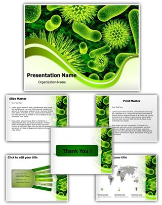 Bacteria Cells PowerPoint Presentation Template With Editable Charts