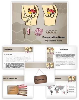 Menstruation Cotton Tampon Editable PowerPoint Template