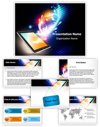 Mobile Media Tablet Editable PowerPoint Template