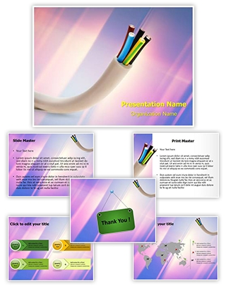 Electric Conductor Cable Editable PowerPoint Template