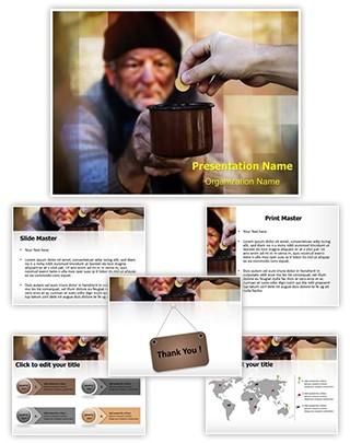 Homeless Beggar Begging Editable PowerPoint Template