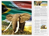 African Elephant Editable Word Template