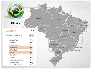 Brazil Map With Selection List Editable PowerPoint Template