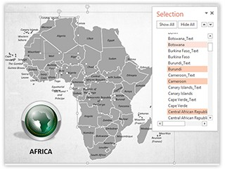 Africa Map With Selection List Editable PowerPoint Template