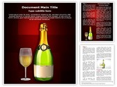 Glass and Champagne Bottle Editable Word Template