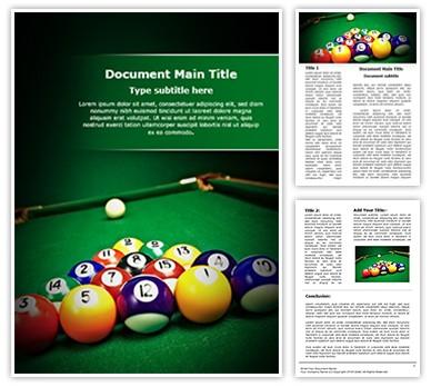 Billiard Table Editable Word Document Template