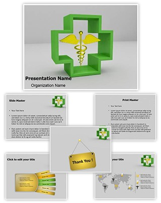 Healthcare Symbol Caduceus Editable 3D PPT Template